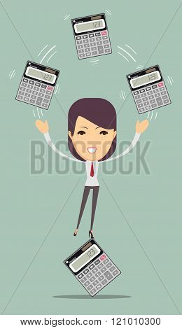 Accountant holding calculator.