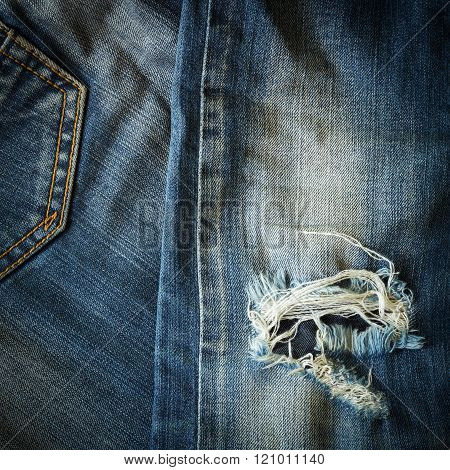 Denim Blue Jeans Old Torn Of Fashion Design