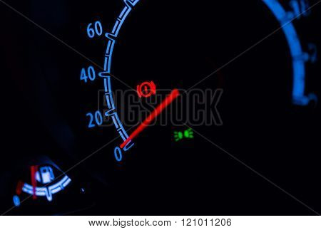 Speedometer Illuminated At Night