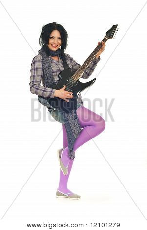 Full Length Of Beauty Woman With Guitar