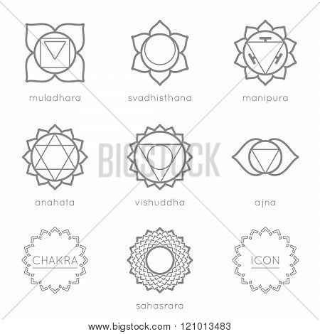 Set of universal chakras icons