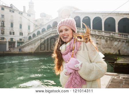Happy Woman Holding Venice Mask