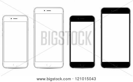 Two sizes of white and black mobile smartphone
