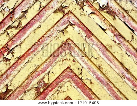 Red Lines On Yellow Metal Surface.