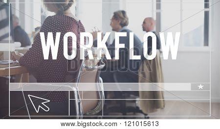 Work Flow Success Organization Strategy Steps Concept
