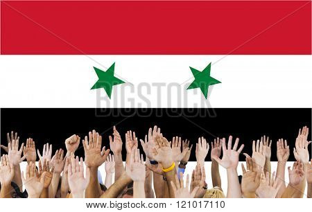 Syria National Flag People Hand Raised Concept