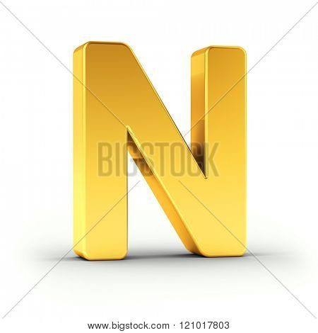 The Letter N as a polished golden object over white background with clipping path for quick and accurate isolation.