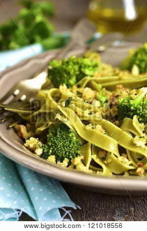 Spinach Pasta With Broccoli And Garlic Bread Crumbs.
