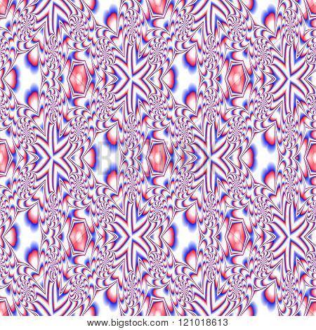 Red blue white decorative kaleidoscopic fractal floral starry optimistic p