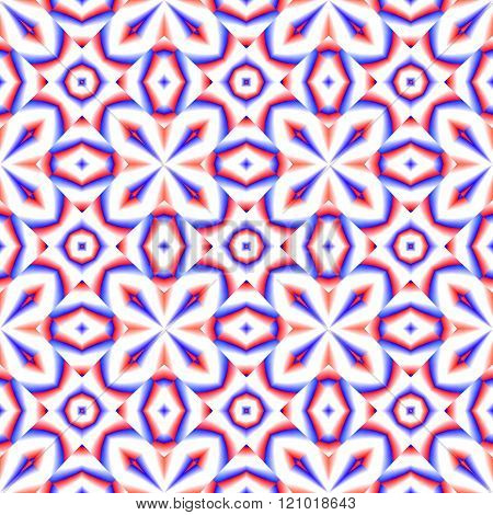 Red blue white decorative kaleidoscopic fractal pattern