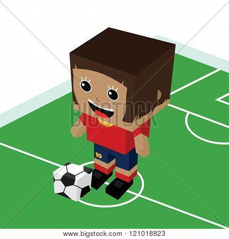 Female Cartoon Soccer Player