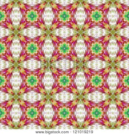 Retro historical regular kaleidoscopic seamless ocher red green gray pattern