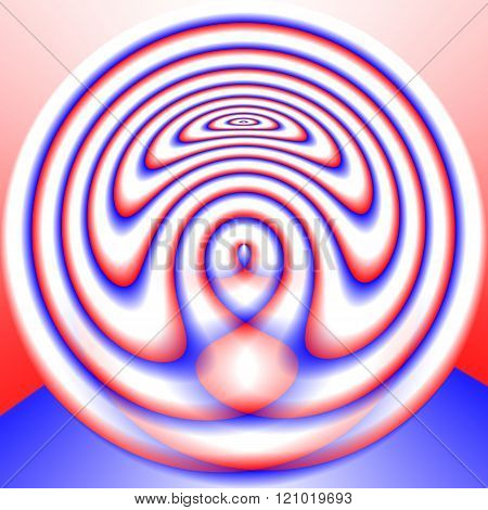 Abstract fantastic blended round decorative red blue white pattern