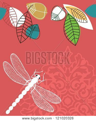 Spring summer  leaves and dragonfly