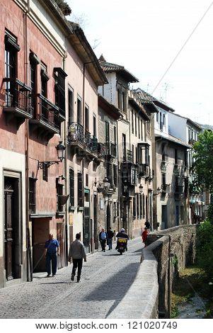 View along Carrera del Darro, Granada.