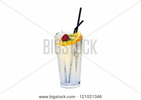 cola cocktail with lemon kiwi and strawberries on a white background