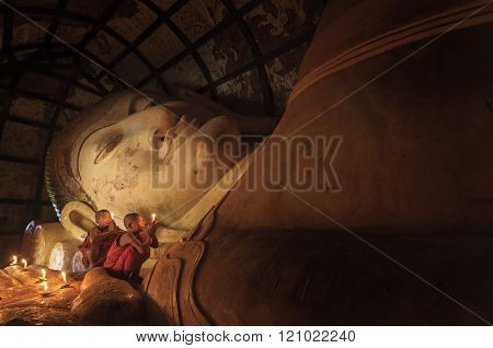 Bagan, Myanmar - Dec 23, 2015: Unidentified Novice Prays In Shinbinthalyaung Temple On December 23,