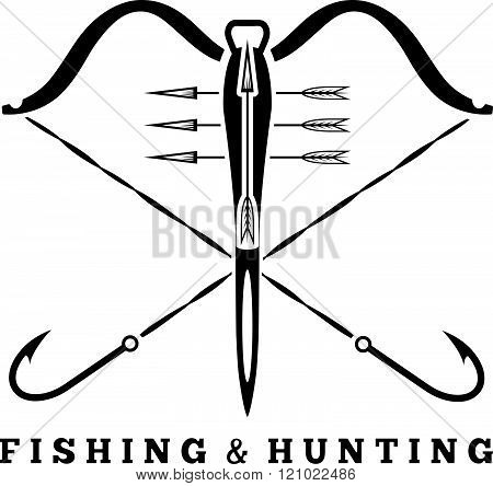 Fishing And Hunting Concept With Hooks And Crossbow