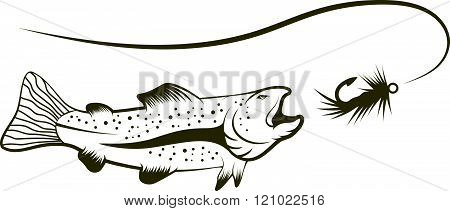 Salmon And Lure Vector Illustration . Concept Of Graphic Clipart Work