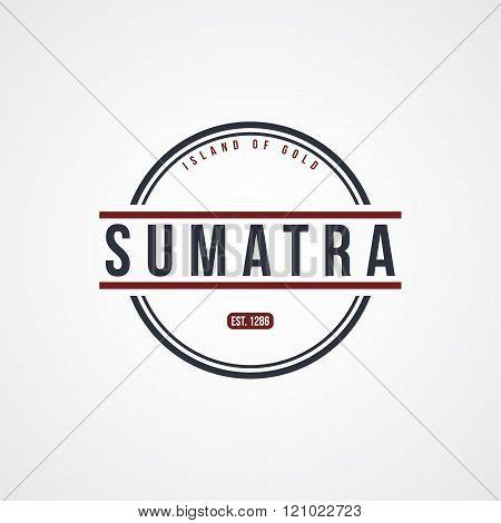 sumatra badge indonesia label theme vector art illustration