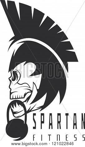 Skull Spartan Warrior Fitness Vector Design Template