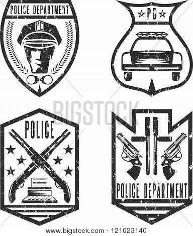 Set Of Grunge Vintage Police Law Enforcement Badges