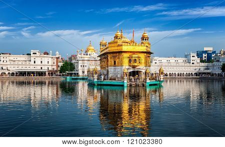Panorama of Sikh gurdwara Golden Temple (Harmandir Sahib) and water tank. Amritsar, Punjab, India