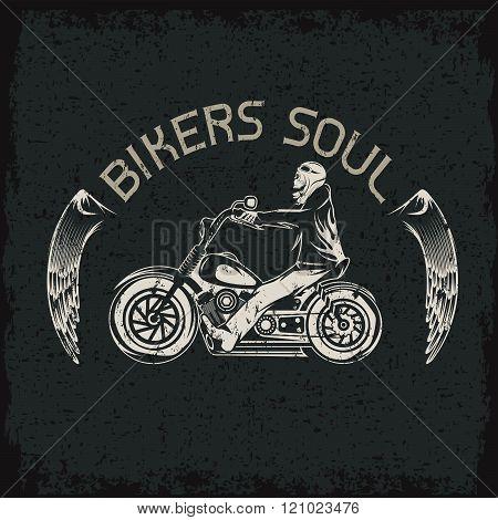 Bikers Theme Grunge Label With Skeleton On Motorbike