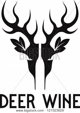 Deer Wine Negative Space Vector Concept . Concept Of Graphic Clipart Work