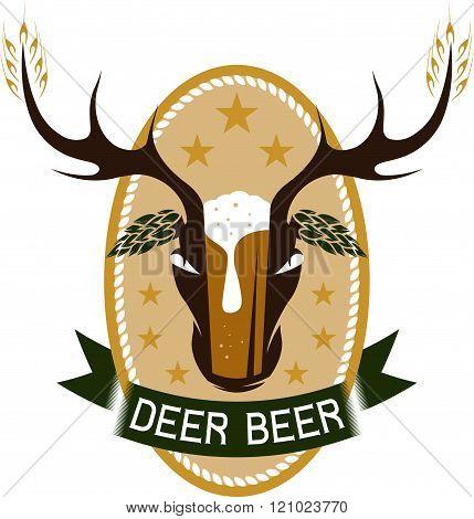 Deer Beer Negative Space Concept Vector Label