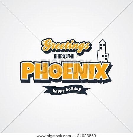 phoenix vacation greetings theme vector art illustration