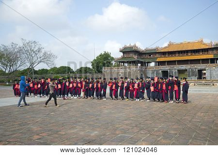 Photos of Vietnamese graduates from the Imperial Forbidden city. Hue, Vietnam