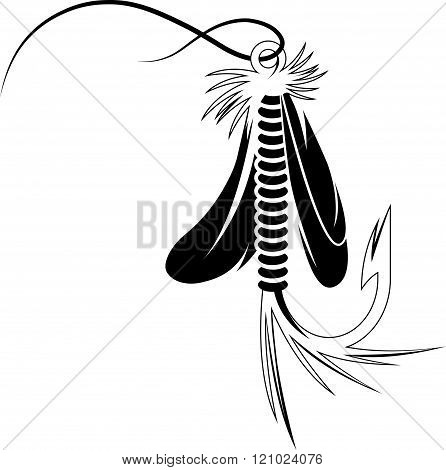 Fly Fishing Lure Vector Design Template . Concept Of Graphic Clipart Work