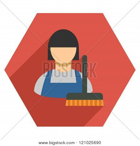 Cleaning Staff Flat Hexagon Icon With Long Shadow