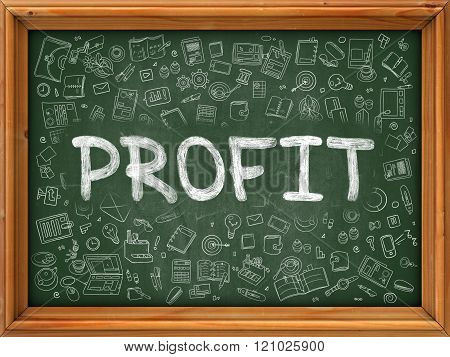 Profit Concept. Doodle Icons on Chalkboard.
