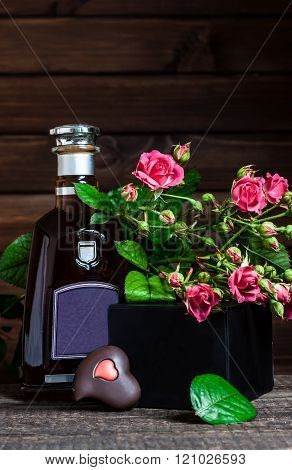 Brandy, Flowers And A Gift For A Romantic Evening
