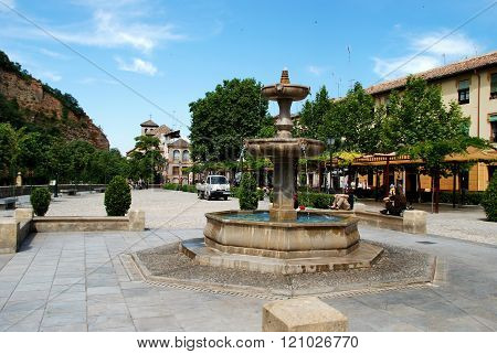 Fountain in town square, Granada.