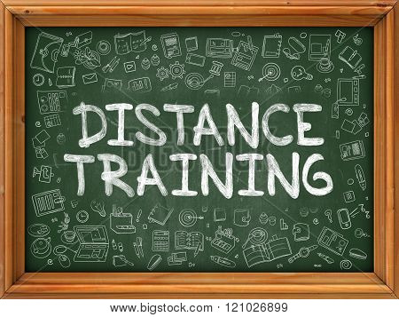 Distance Training - Hand Drawn on Green Chalkboard.