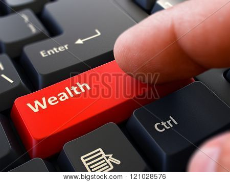 Finger Presses Red Keyboard Button Wealth.