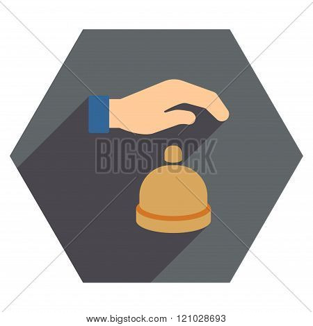 Reception Call Bell Flat Hexagon Icon with Long Shadow