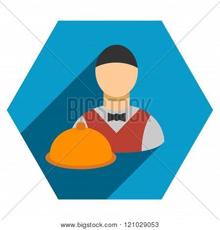 Waiter Flat Hexagon Icon with Long Shadow