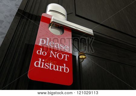 Don Not Disturb Sign Hanging on Room Door in a Fancy Hotel