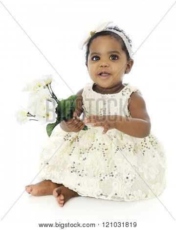 A beautiful, barefoot baby girl in a white hair bow and sequin dress.  She's happily holding a small bouquet of white flowers.  On a white background.