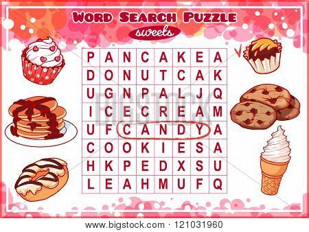 Word Search Puzzle With Sweets.