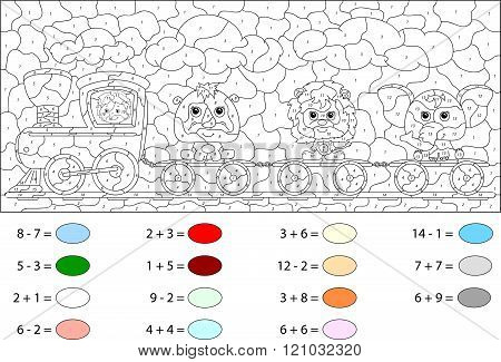 Funny Cartoon Train With Lion, Elephant And Rhino. Color By Number Educational Game For Kids