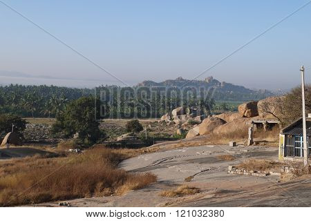 view from Hemakut's hill on ancient divine Hampi
