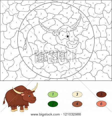 Cartoon Yak. Color By Number Educational Game For Kids