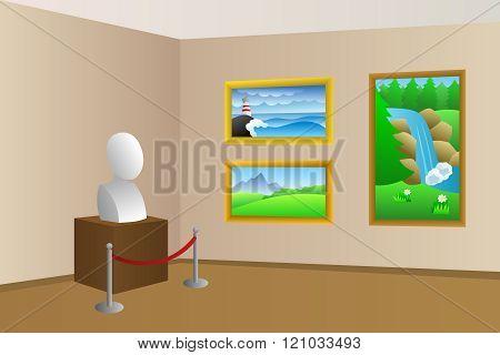 Museum beige room interior illustration vector