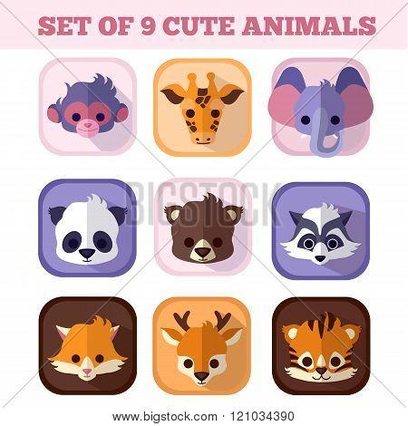 Set Of Nine Cute Animals Flat Icons.