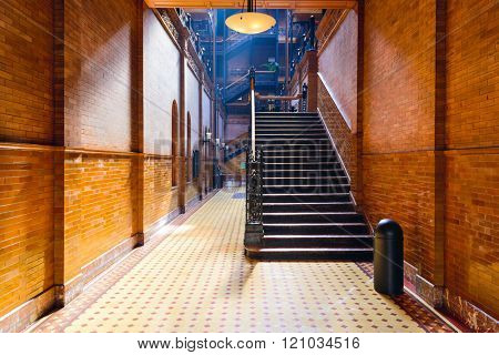 LOS ANGELES - FEBRUARY 29, 2016: The Bradbury Building entranceway in Los Angeles. The historic building is featured prominently as a setting in films, television, and literature.